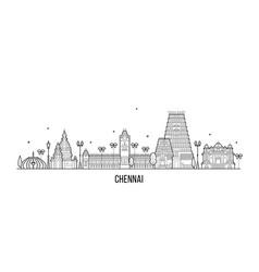 Chennai skyline tamil nadu india city line vector
