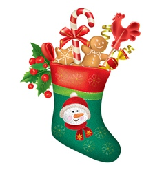 Christmas stocking with sweets vector
