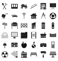 construction icons set simple style vector image