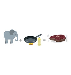 Cooking instruction elephant Big elephant and pan vector image