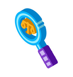 Court magnifier law and judgement isometric icon vector