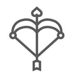 cupid bow line icon love and valentine arrow vector image