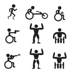 Disable handicap sport icons runner bodybuilding vector