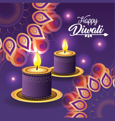 diwali candles lits with flowers mandalas vector image