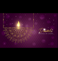 Diwali festival card gold indian candle decoration vector