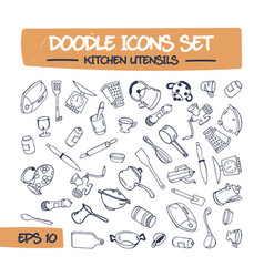 doodle icons set - kitchen items vector image