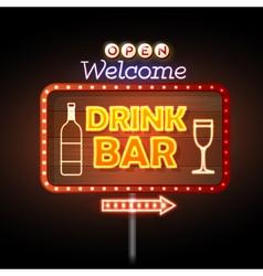 Drink bar Neon sign vector image