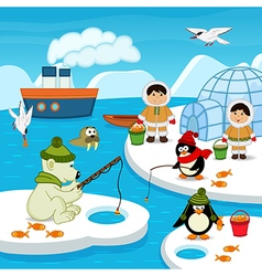Eskimos and animals catch fish vector