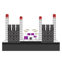 Festival Stage with Speakers and Drums vector