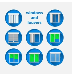 Flat icons for windows and louvers vector