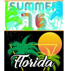 Florida sailing poster design template vector