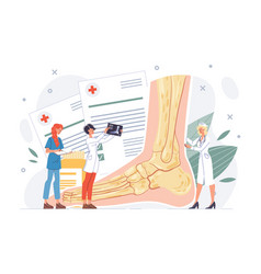 Foot or ankle trauma sprain diagnosis treatment vector