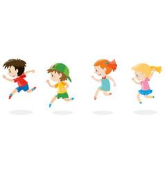 Four children running around vector