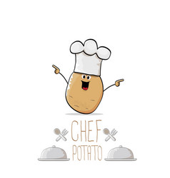funny cartoon cute brown chef potato with vector image