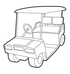 Golf car icon outline style vector