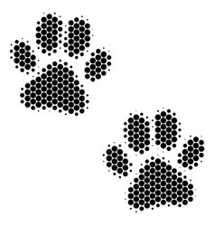 Halftone dot paw footprints icon vector