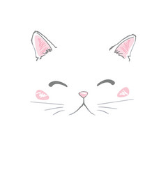 hand drawn cute cats face saying hello isolated vector image