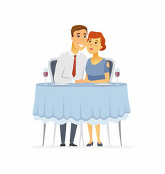 Happy couple in a restaurant - cartoon people vector
