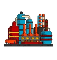 Industrial factory or plant with pipes vector