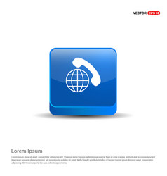 international call icon - 3d blue button vector image