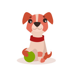 Jack russell terrier character playing with green vector