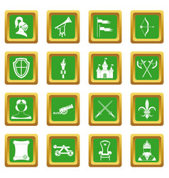 Knight medieval icons set green vector