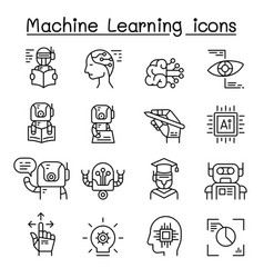 Machine learning icon set in thin line style vector