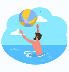 Male playing ball in sea water activity vector