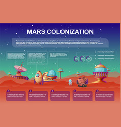 Mars colonization cartoon infographics vector
