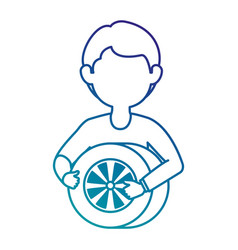 mechanic with tire avatar character vector image