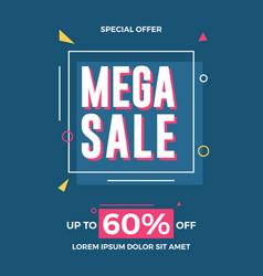mega sale flyer template for social media banners vector image