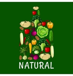 Natural healthy vegetables cutting board icon vector