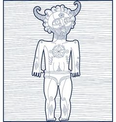 Nude man with star symbol mystic creatur vector