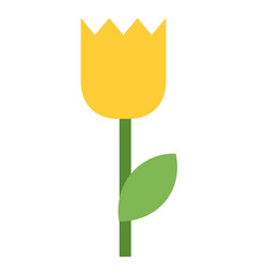 one yellow tulip icon flat isolated vector image