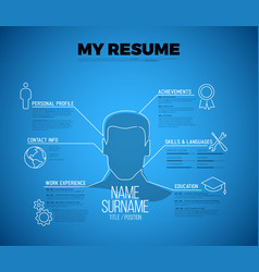 Original minimalist blueprint cv resume template vector