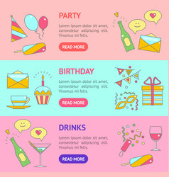 party celebration banner horizontal set vector image