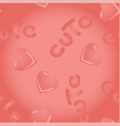 Pink seamless pattern with kawai hearts and vector