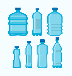 plastic water bottles set isolated on white vector image