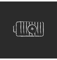 Positive power battery drawn in chalk vector