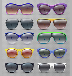 Realistic fashion sunglasses and glasses isolated vector