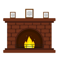 Red brick fireplace vector