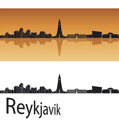 Reykjavik skyline in orange background vector