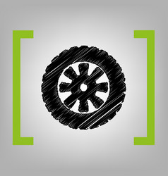 Road tire sign black scribble icon in vector