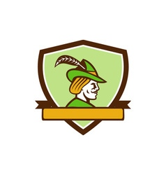 Robin Hood Side Ribbon Crest Retro vector