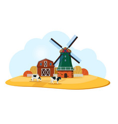 rural landscape with dutch windmill and farm vector image