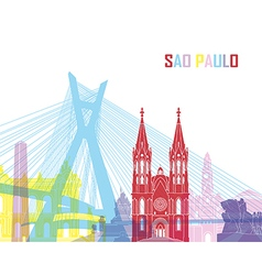 Sao Paulo skyline pop vector image