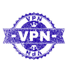 Scratched textured vpn stamp seal with ribbon vector