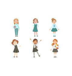Set images girls schoolgirls in uniform vector