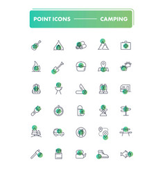set of 30 line icons camping vector image