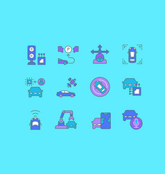 set simple line icons autonomous car vector image